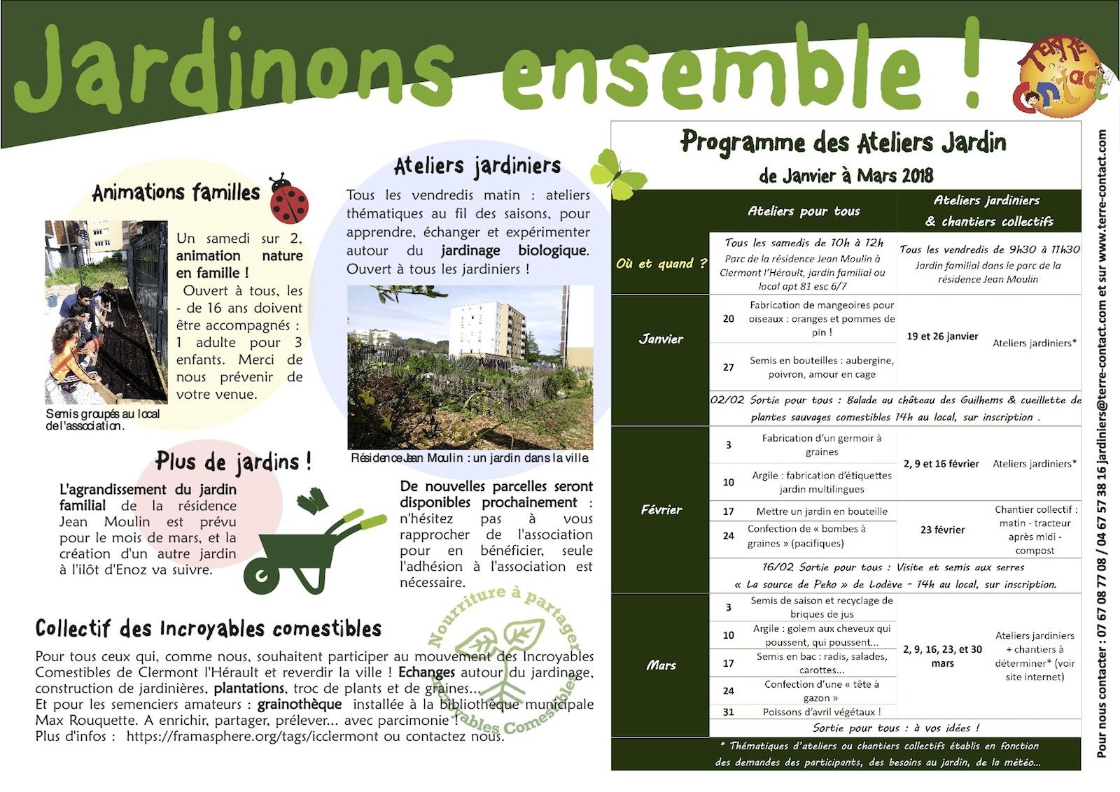 Programme des ateliers jardins terre contact for Programme jardin